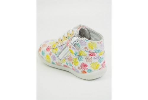tolosa sneakers cuir textile lacets jaune fluo