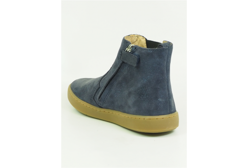 vita bottines cuir boucle zip fille marine